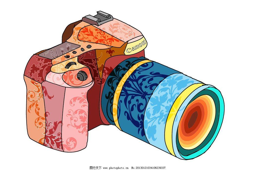 照相机 彩色 花纹 数码产品 现代科技 设计 300dpi jpg