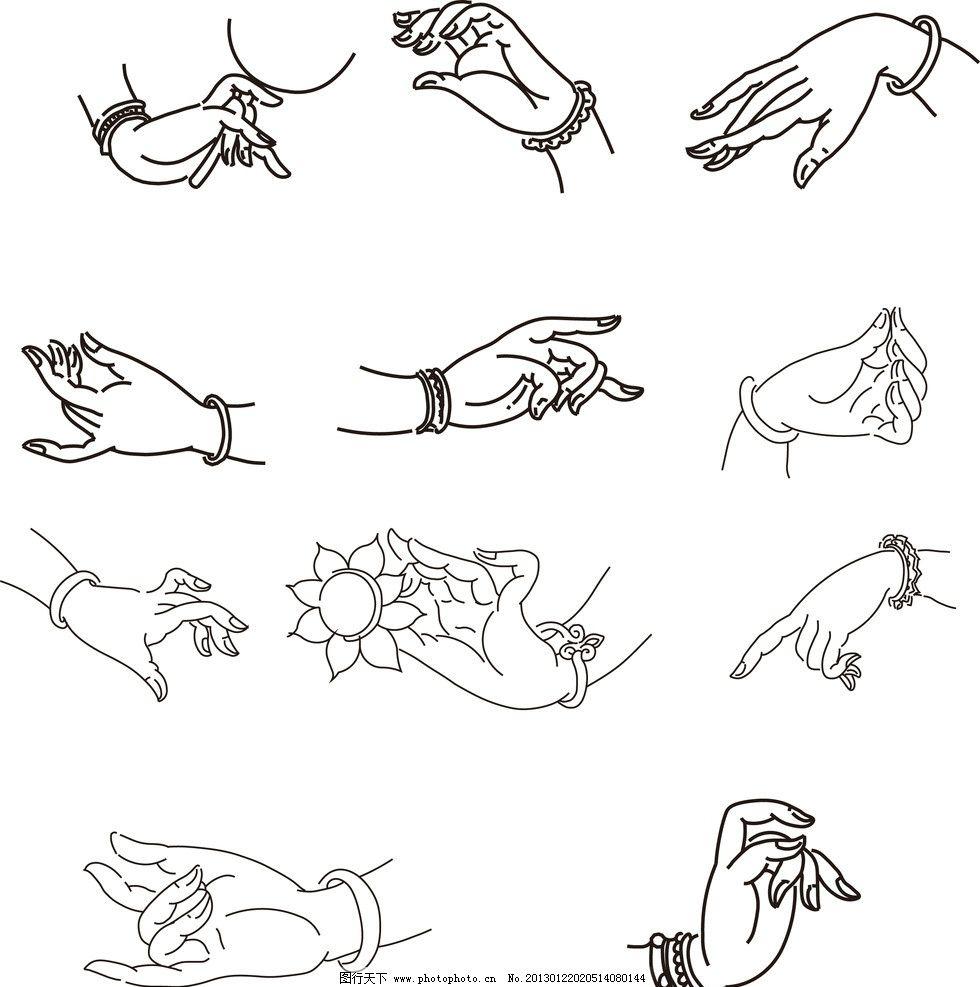 格式各样的手 手 线描手 各类动作的手 线描人物 条纹线条 底纹边框