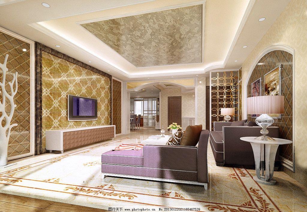 客厅简欧风格效果图 客厅简欧风格 抛晶砖 马赛克 砂岩 金箔壁纸 客厅