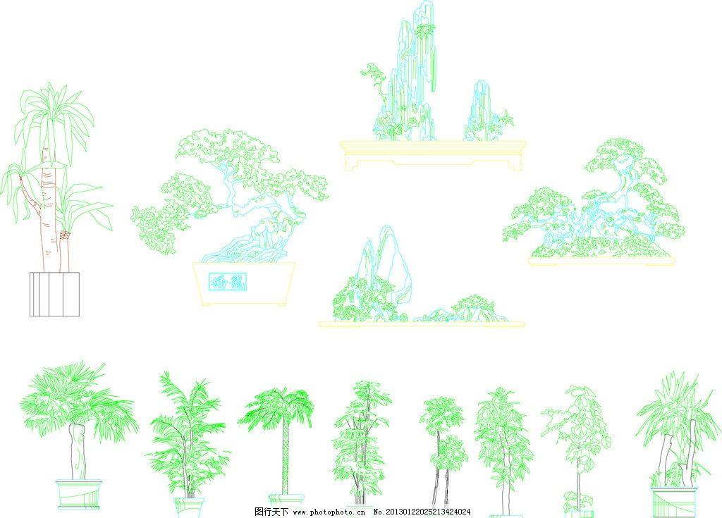 室内 盆栽 古代小园林 椰树盆栽 小品盆栽 树木树叶 生物世界 矢量 ai