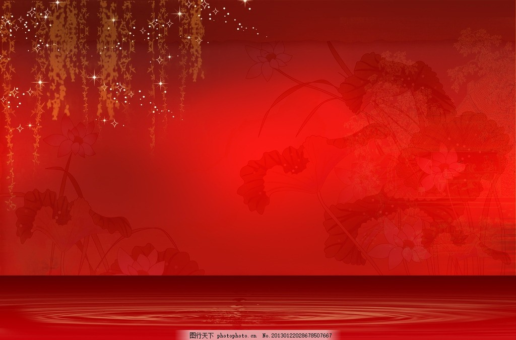 红色背景 红色背景图片 水墨背 中国风意境图 荷叶 荷花 中国古典