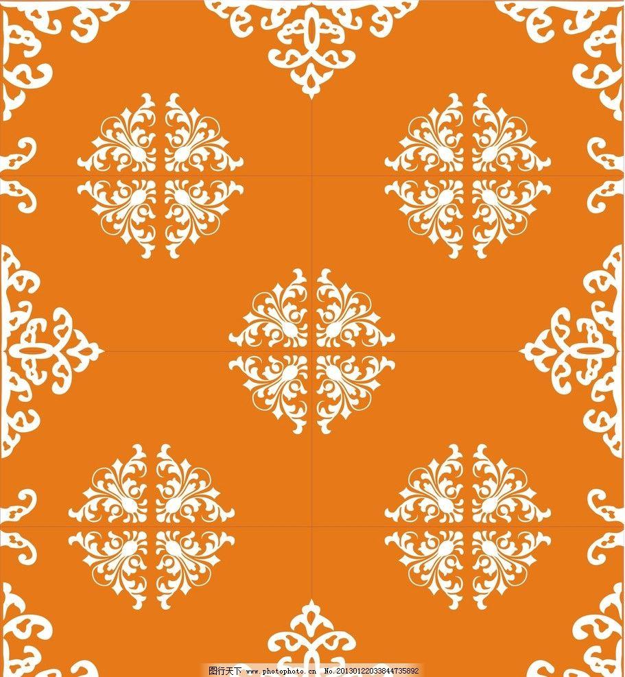 欧式花纹对称花 影视墙装饰画 玻璃雕花 拼镜子花纹 矢量素材 其他