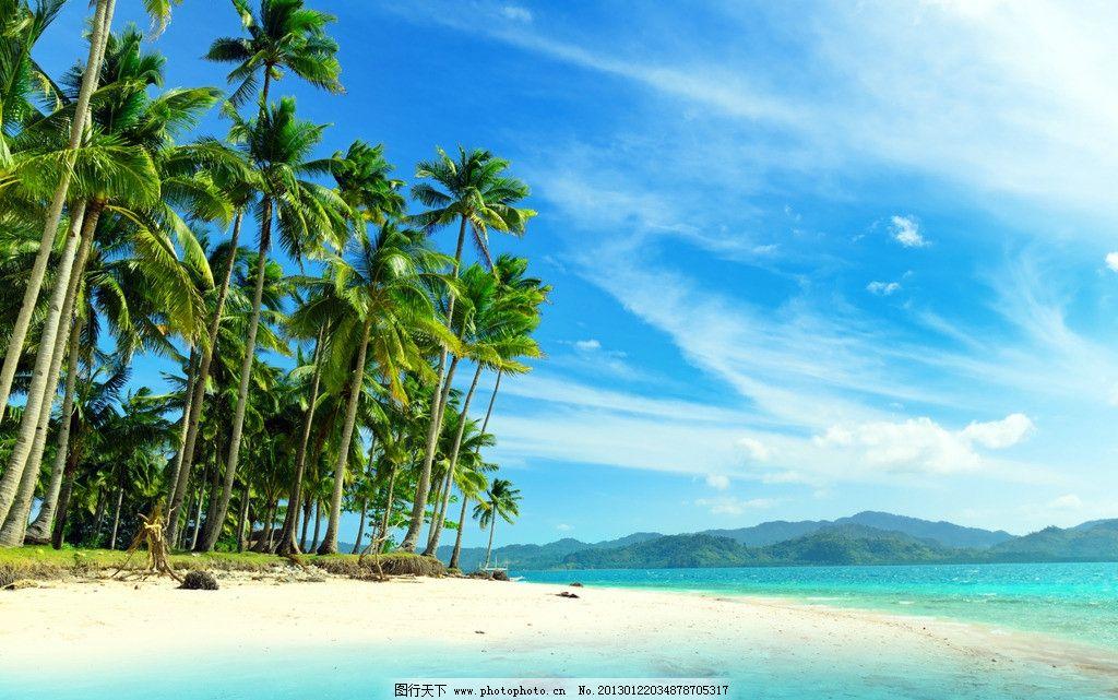 海边美景 海滩 海面 大海 海水 海边 蓝海水 沙滩 沙子 蓝天 椰树