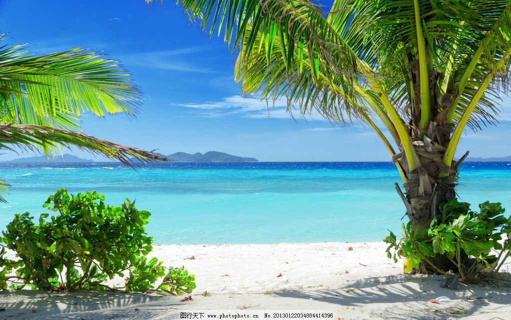 海边美景 海滩 海面 大海 海水 蓝海水 沙滩 沙子 椰树 蓝天 白云
