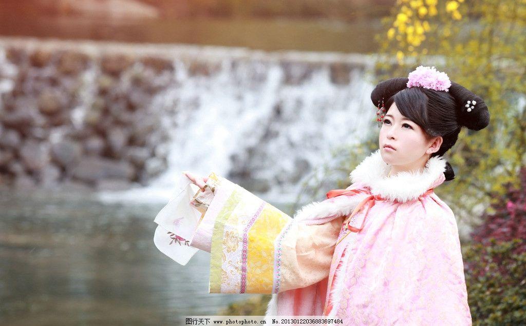 清宫古装 女 古代 美女 可爱 清新 穿越 清朝 女性女人 人物图库