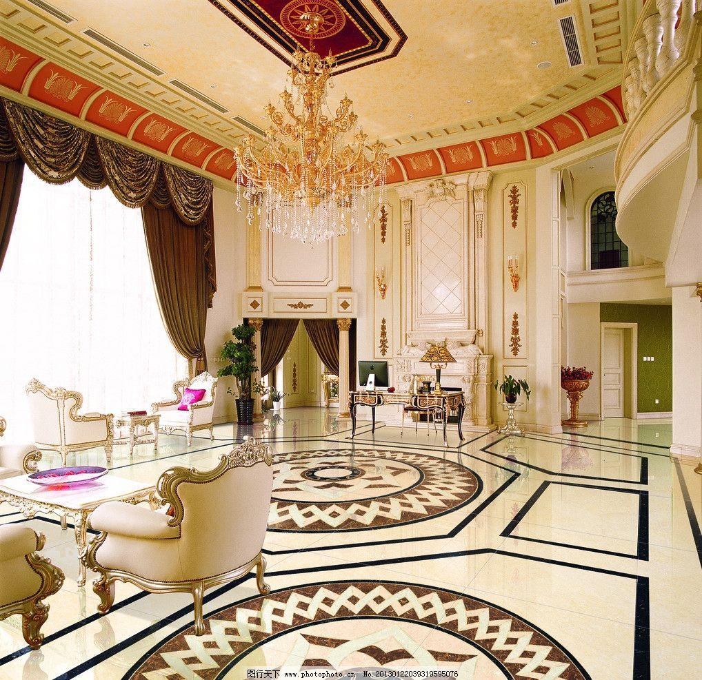 豪华3d酒店大堂 豪华3d大堂 欧式大堂 欧式家俱 拼花 豪华酒店大堂