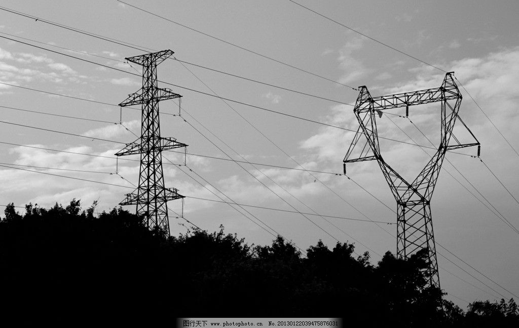 高压电线 高压电 支架 电塔 电线架 剪影 黑白 城市 建筑摄影 建筑