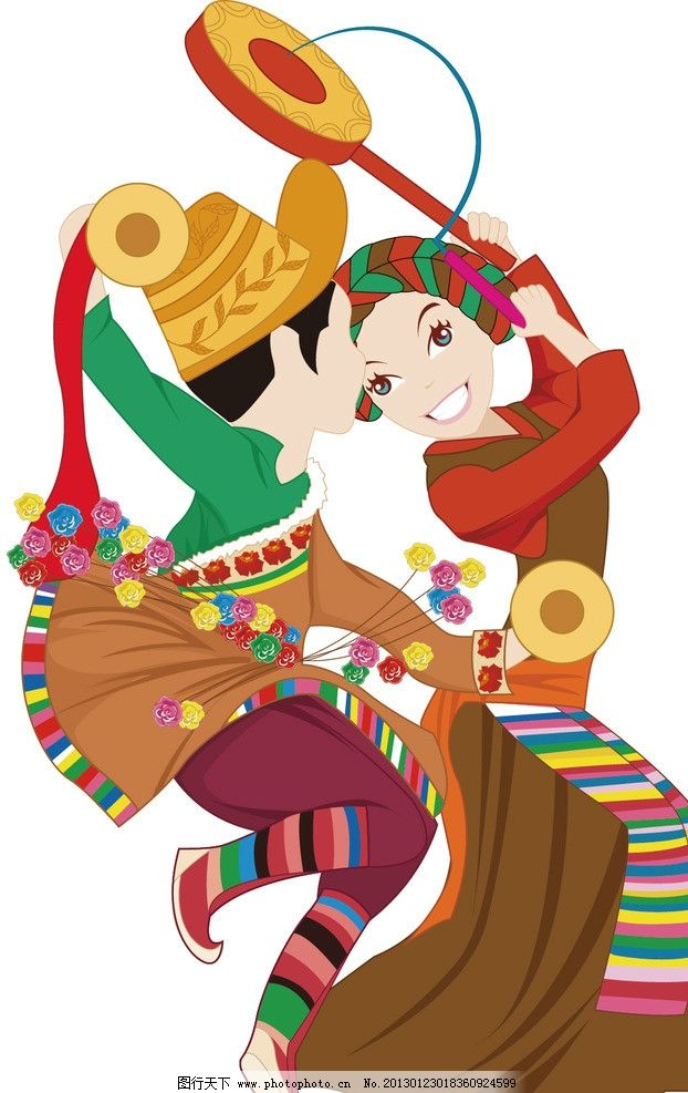 藏族 民族 舞蹈 动漫人物 动漫动画 设计 150dpi jpg