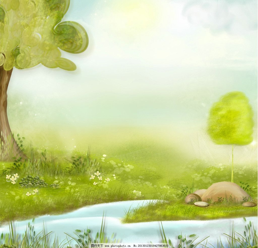 夢幻手繪背景圖片,手繪夢幻背景 草地 植物 手繪風-圖