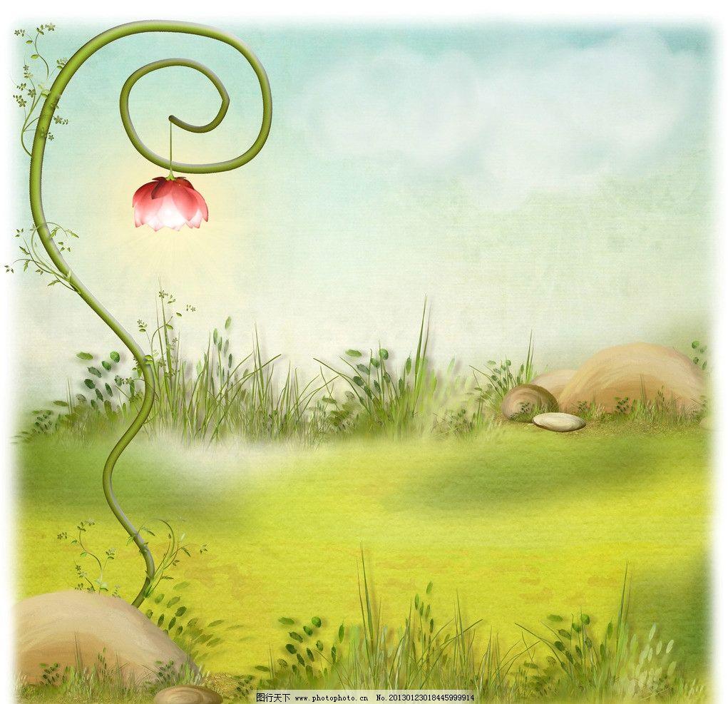 动漫卡通 风景漫画  梦幻手绘背景 手绘梦幻背景 梦幻背景 草地 植物