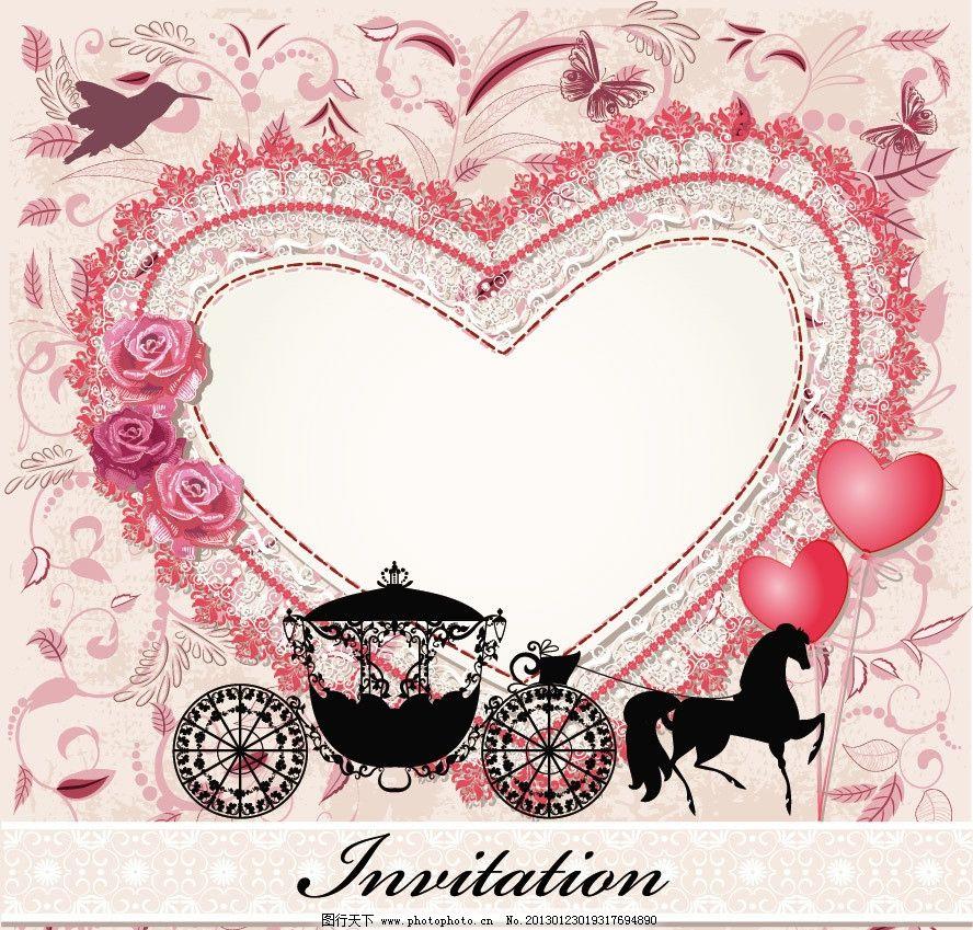欧式婚礼马车 爱心花纹小鸟图片