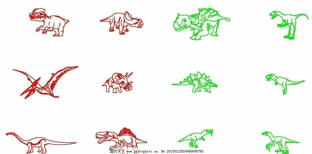 线描恐龙 恐龙 线描 白描 动物 远古 史前 野生动物 生物世界 矢量 cd