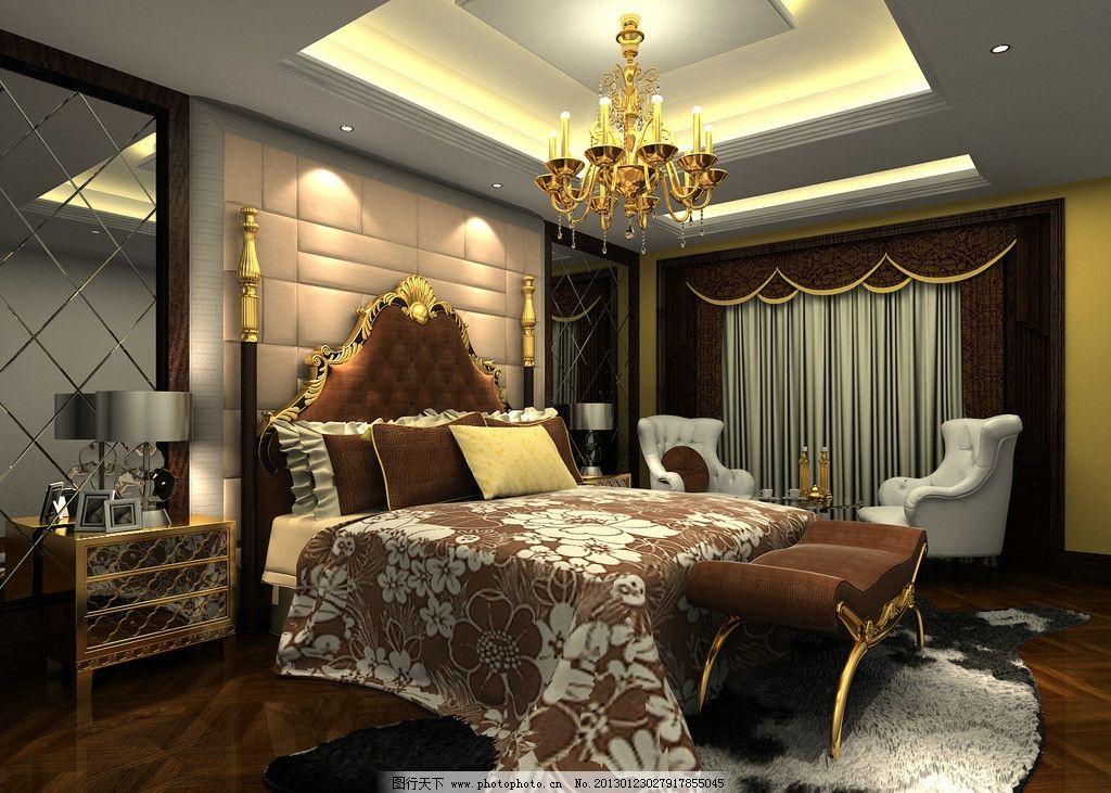 室内设计 卧室 效果图 vray 大图 夜晚 夜色 窗帘 藏灯 吊灯 双人床