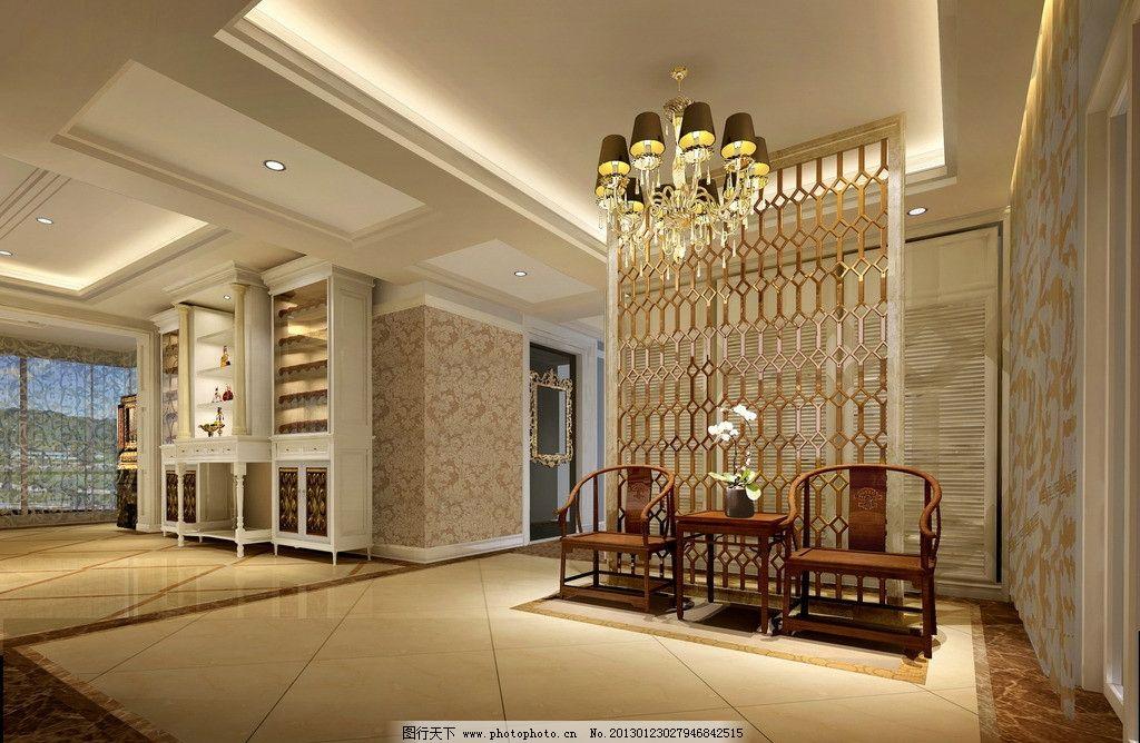地面拼花 墙纸 屏风造型 镜子 天花吊顶 欧式 大气 灯光效果 室内设计