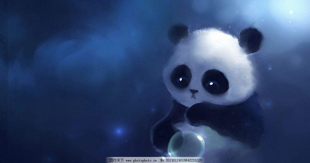 熊猫 动漫 梦幻 蓝色 天空 夜色 泡泡 可爱 其他 动漫动画 设计 72dpi