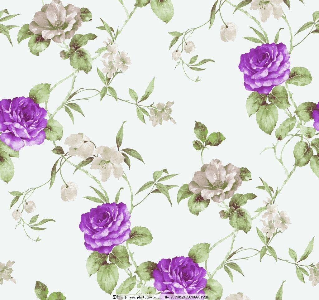 田园风藤条壁纸 花卉 紫色 玫瑰 藤条花壁纸 花边花纹 底纹边框