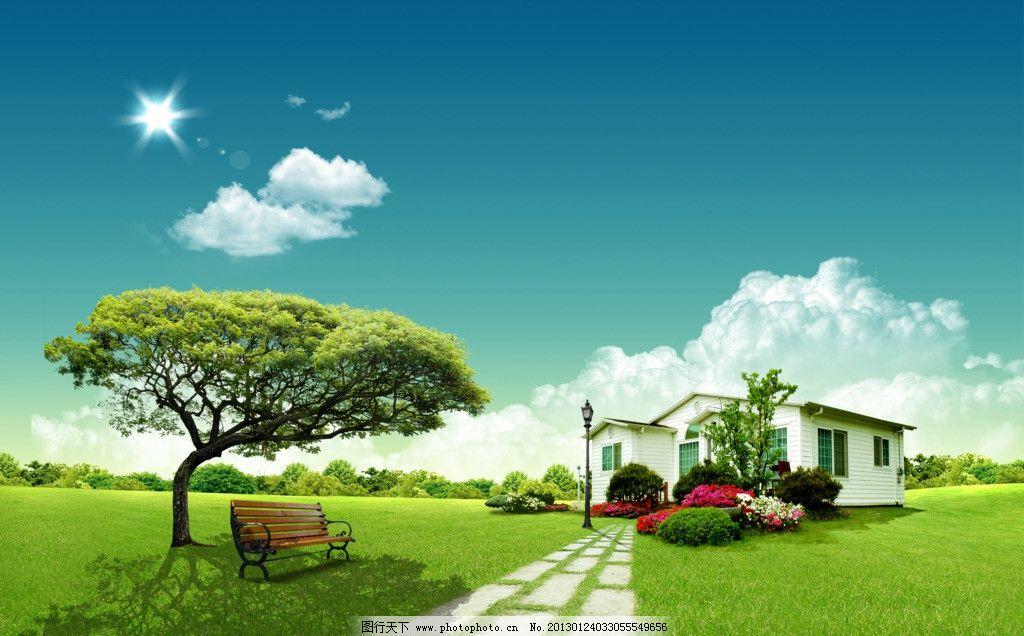 别墅风景 时尚 风景 自然 清新 野外 别墅 房子 蝴蝶 草地 树 蓝天 天