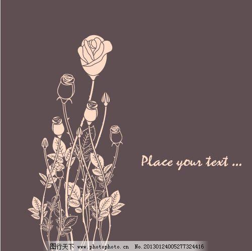 花枝 手绘玫瑰花 图片素材 手绘玫瑰花 花枝 花叶背景 图片素材 矢量