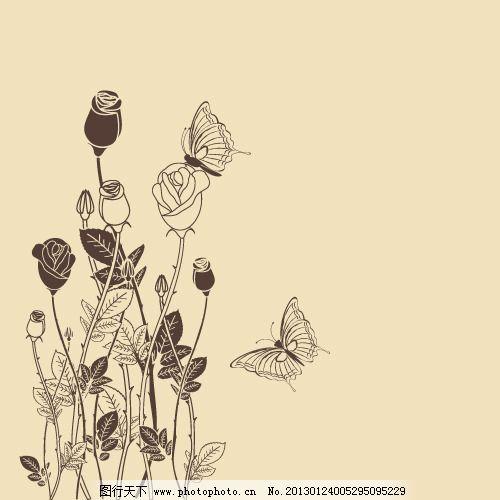 矢量手绘花叶画稿素材