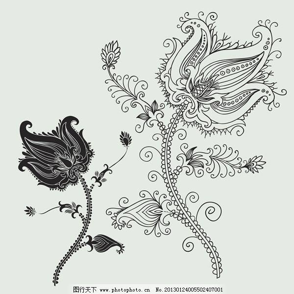 花朵线稿黑白花纹