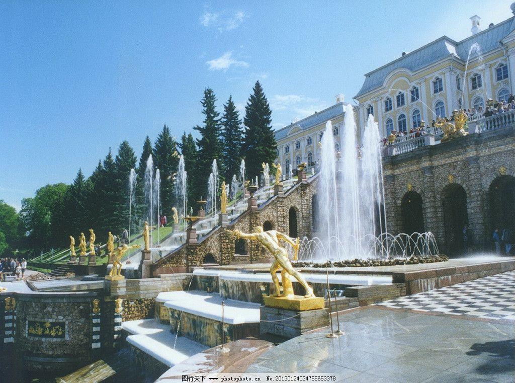 欧式喷水池群图片