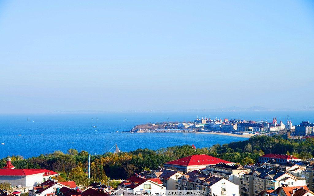 烟台远拍海景 远拍 海景 建筑 房屋 绿树 水面 蓝天 自然风景 自然