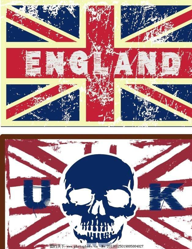 英国国旗 英国 国旗 england uk 骷髅 米字旗 复古 返古 英格兰 残缺