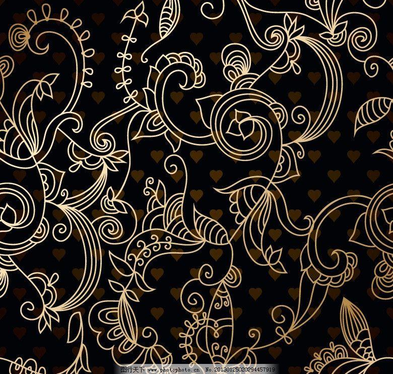 欧式古典花纹 欧式古典花纹背景底纹 欧式花纹 边框 欧式花边 金色