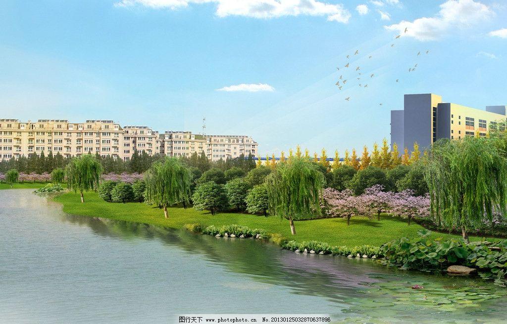 河道绿化 道路绿化 道路绿化效果图 城市道路 绿化带 交通岛绿化