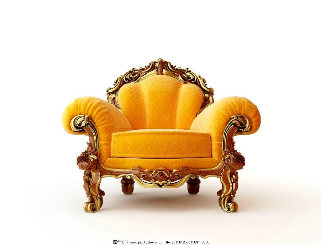 沙发图片,黄色沙发 欧式沙发 家居生活 摄影-图行天下