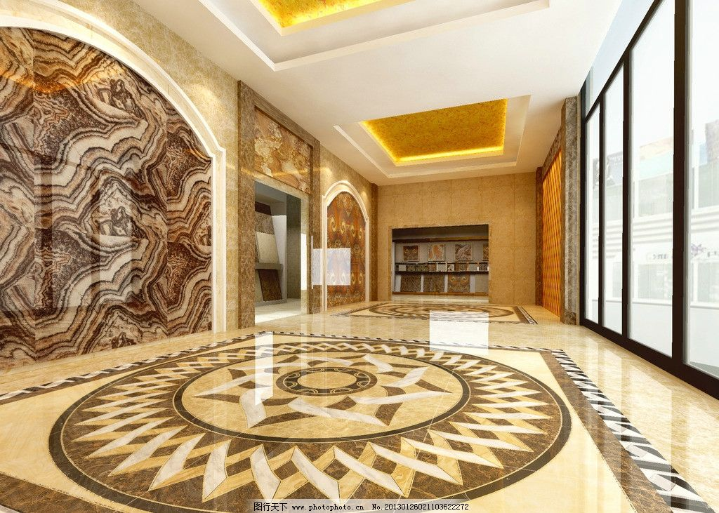 建材展厅设计 抛晶砖 办公大厅效果图 建材展示入口大厅 地面拼花
