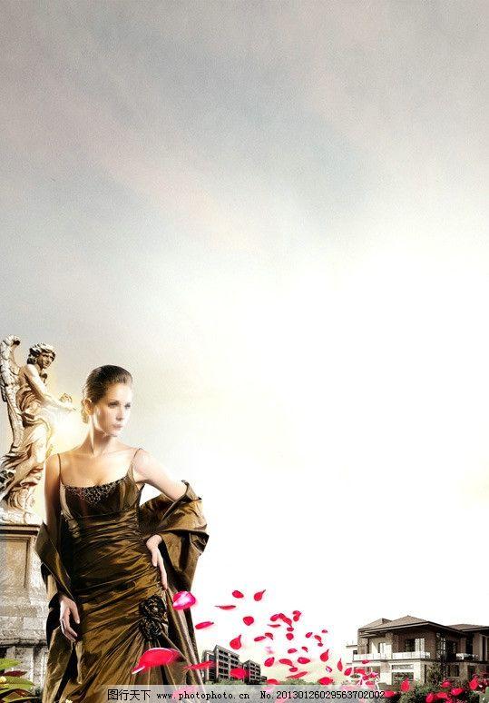 欧式花园 欧式建筑 花瓣 宫廷美女 雕塑 草丛 房地产广告 广告设计