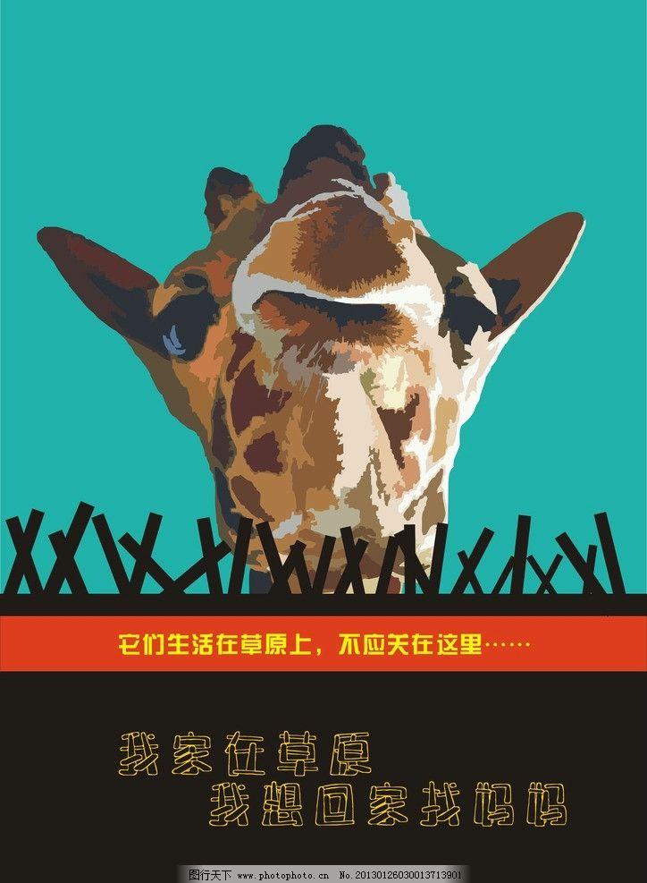 保护动物 长颈鹿 动物园 海报设计 广告设计 矢量 cdr