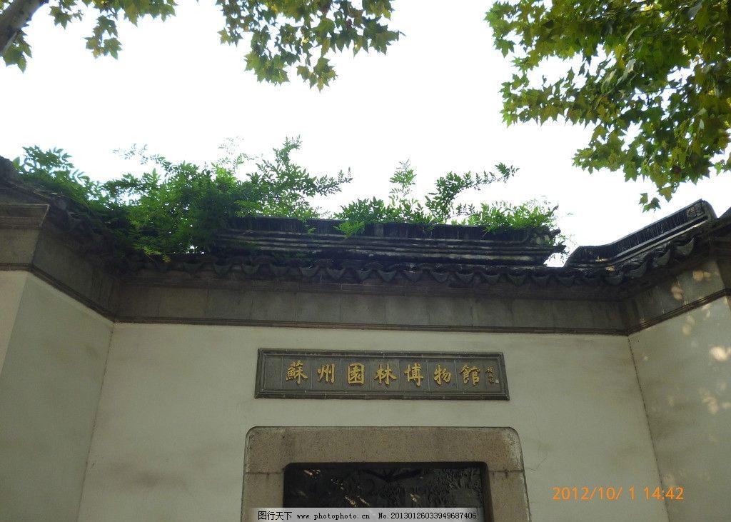 苏州园林博物馆 古建筑 苏州园林 白墙 树叶 茂密 石墙 旅游摄影 国