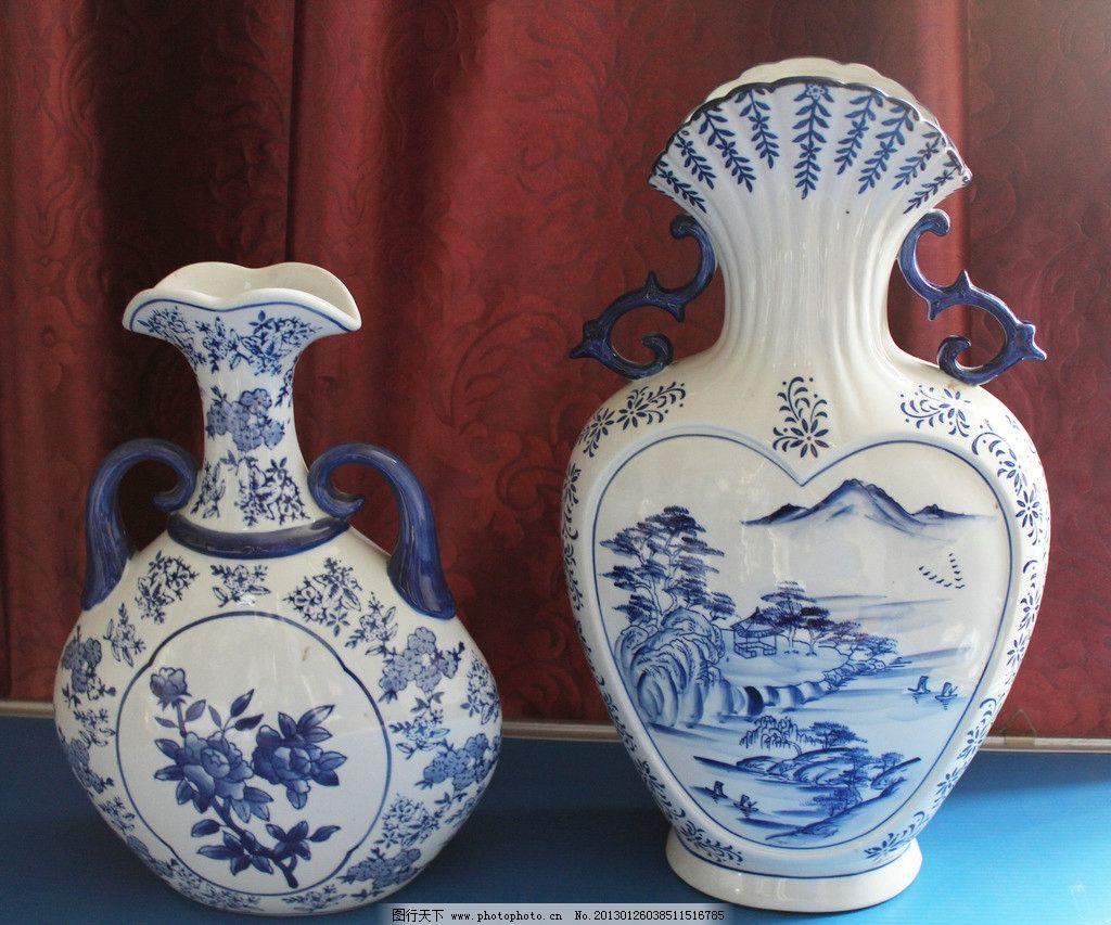 青花瓷花瓶 青蓝 国画 山脉 树木 花草 艺术 陶瓷 瓶子 花纹