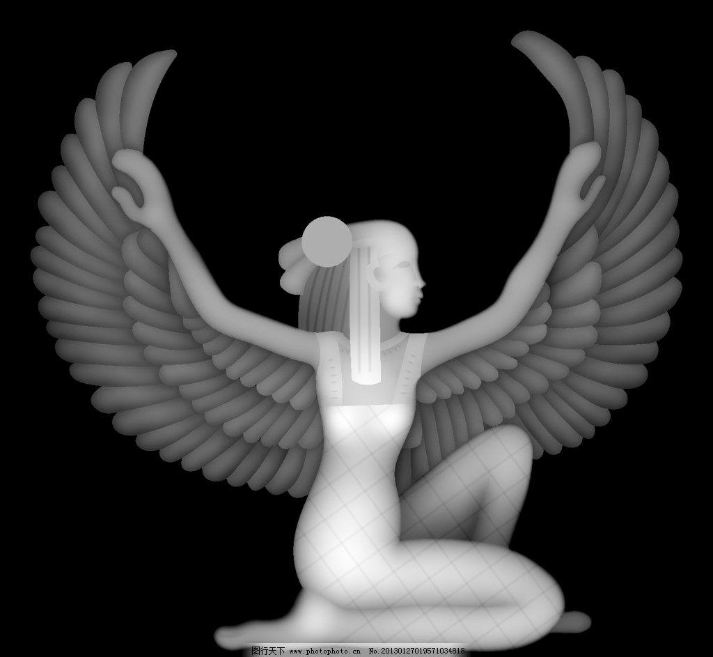 欧式花浮雕灰度图天使