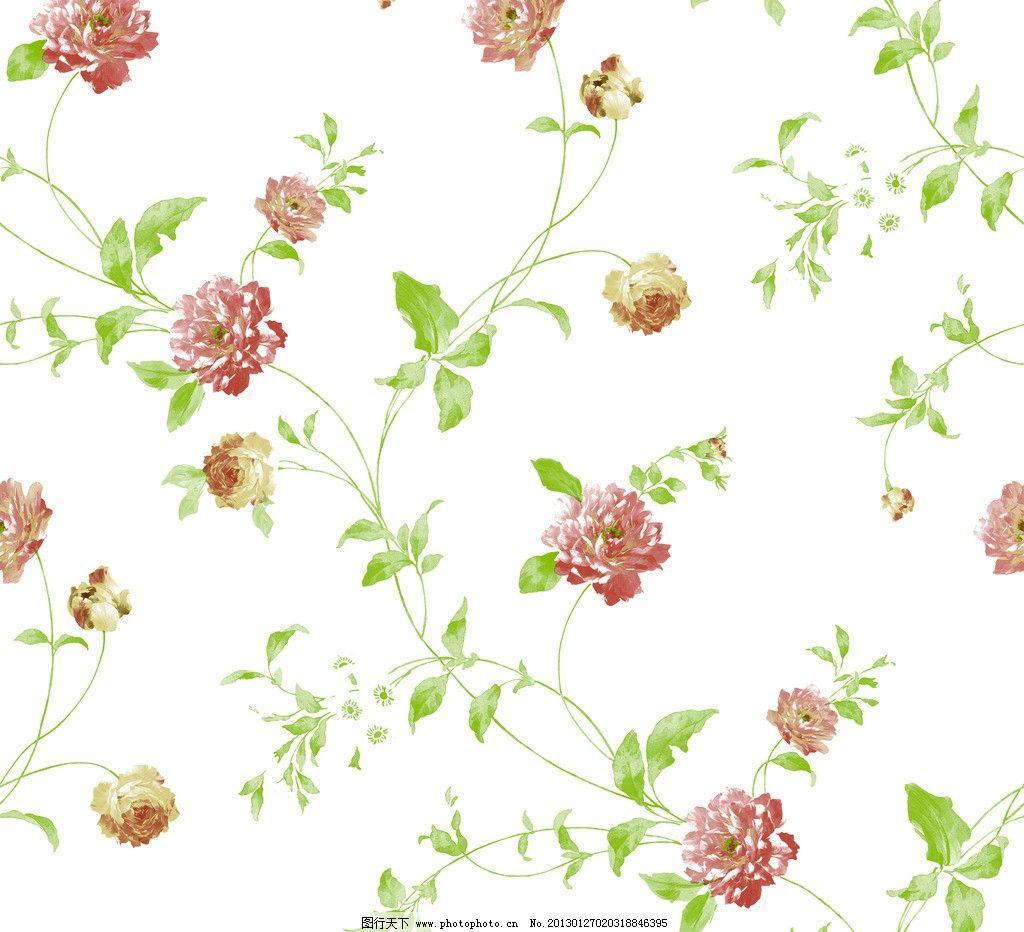 藤条壁纸 田园风 壁纸 藤条 撇丝花 平块花 手绘花 藤条花壁纸 花边