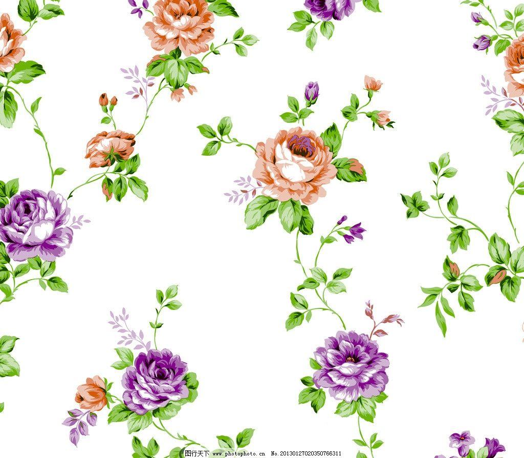 清新藤条壁纸 田园风 撇丝花 平块花 手绘花 藤条花壁纸 花边花纹