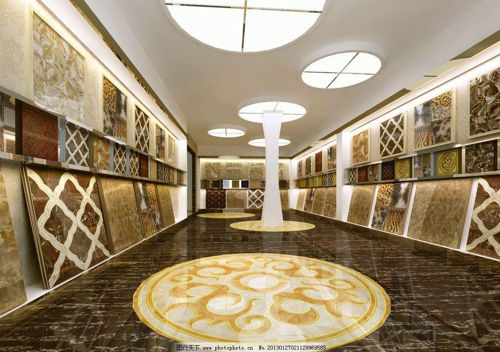 瓷砖展材区效果图 建材 展厅 抛晶砖 地面拼花效果图 建材展示入口