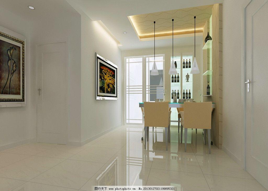 餐厅效果图 餐厅 吊顶        餐厅吊顶 简约 吊趟门 白色 清爽型图片