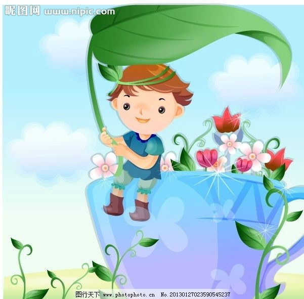 快乐儿童 风景 花草 文化 卡通 儿童幼儿 矢量学生 卡通儿童插画 矢量