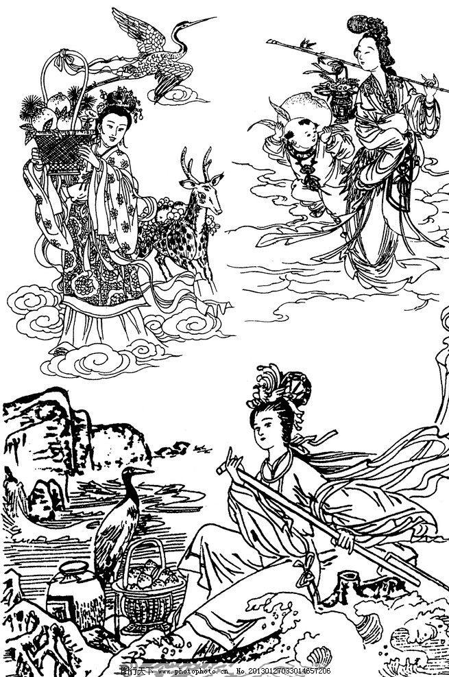 中式纹饰 艺术图案 传统文化 仙女散花 神仙 白描 人物白描 吉祥图案