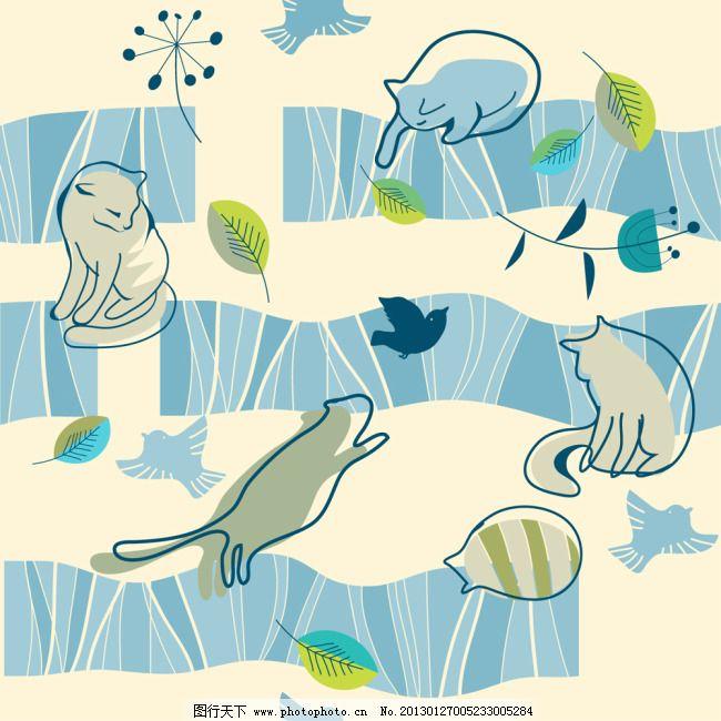 线条 可爱 卡通 猫咪 图案 插画 线条 剪影 矢量素材 矢量图 花纹花边