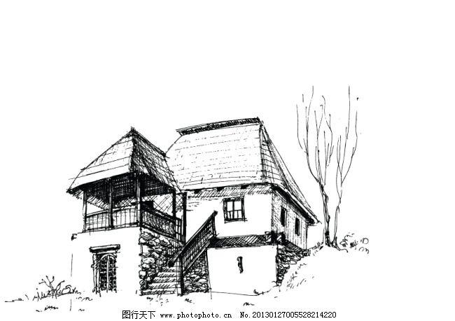 矢量房屋速写建筑物素材