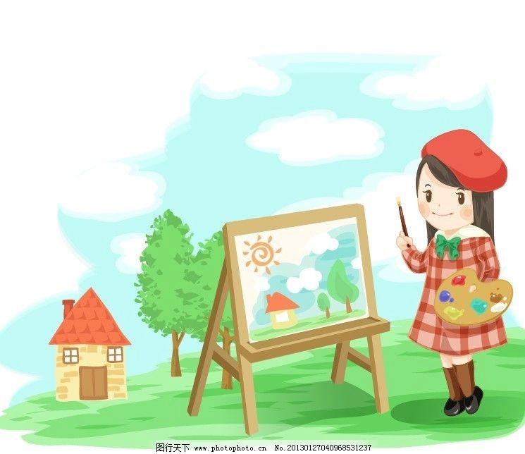 儿童风景写生彩铅