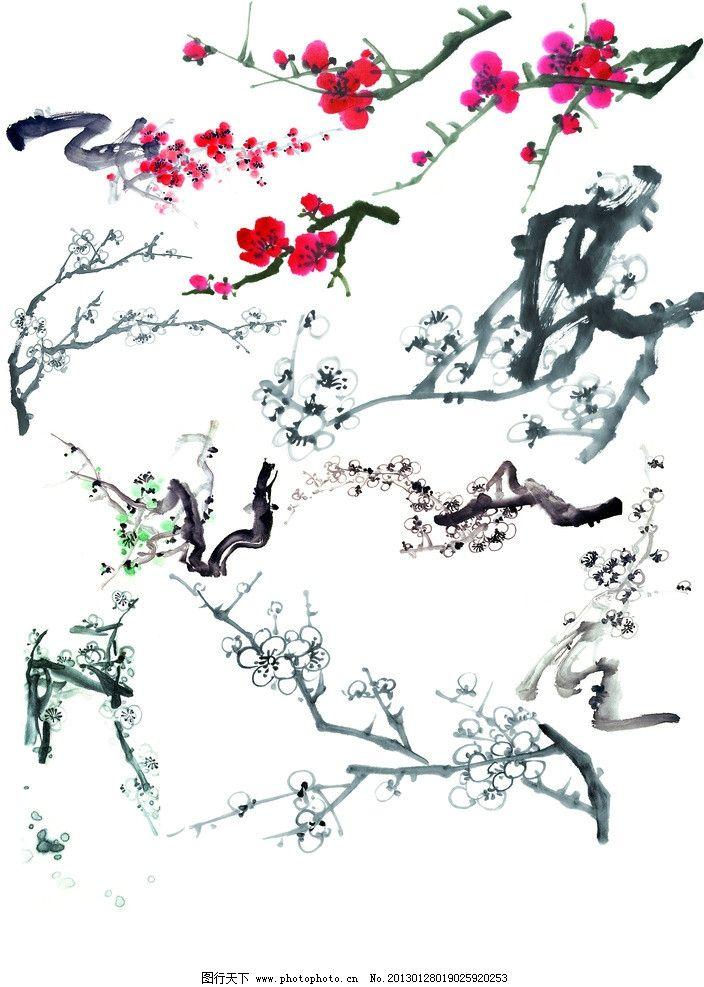 梅花 腊梅 红梅 手绘梅花 水墨梅花 水墨画 水粉画 水彩画 绘画