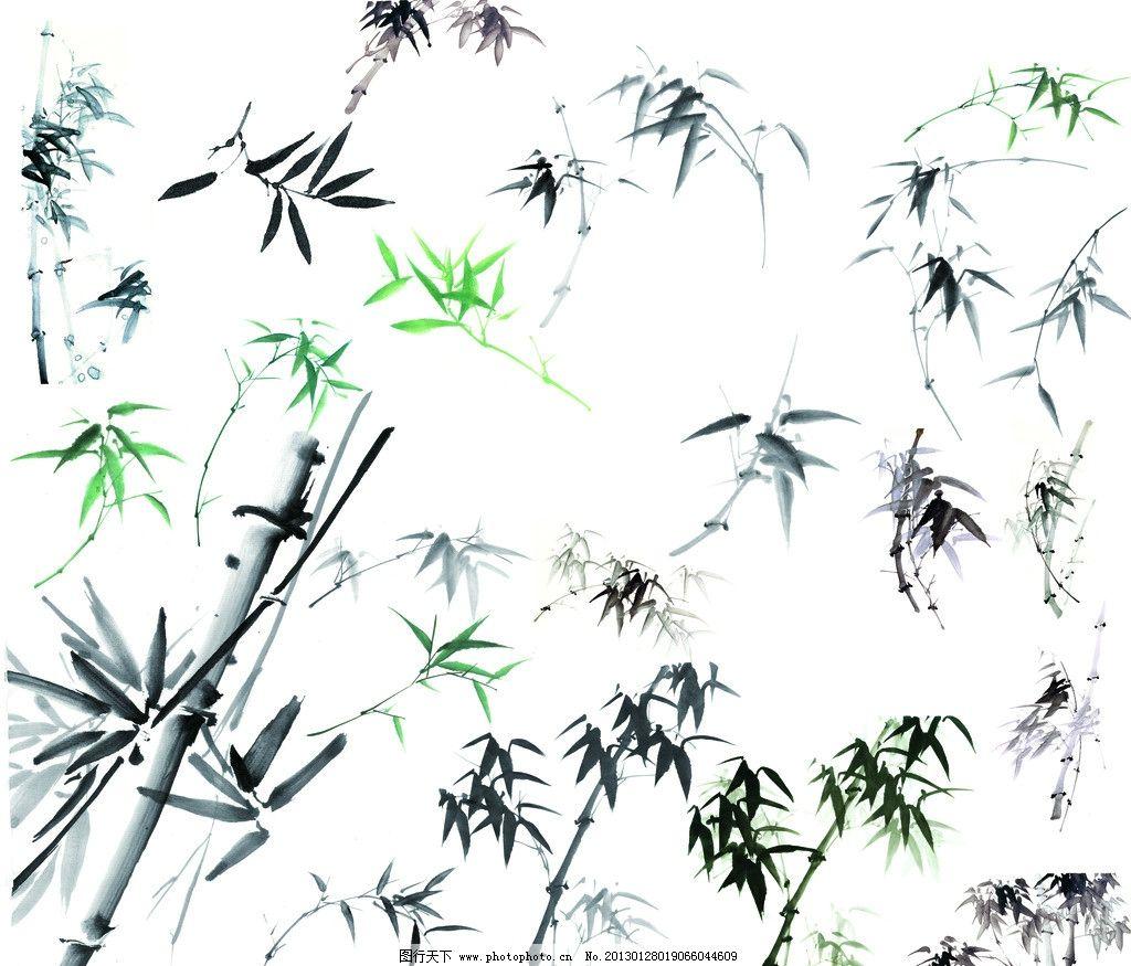 竹子 水墨竹子 水墨画 国画竹子 水粉画 绘画 手绘