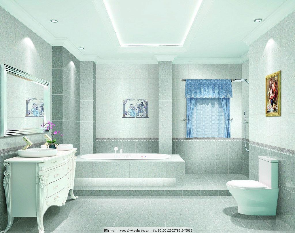 瓷片 浴缸 洗手台 马桶 浴室 冲凉房 洗手间 卫浴 室内设计 环境设计