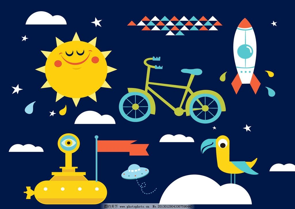可爱卡通素材 海陆空 太阳 火箭 潜水艇 鸟 云彩 飞碟 卡通设计 广告