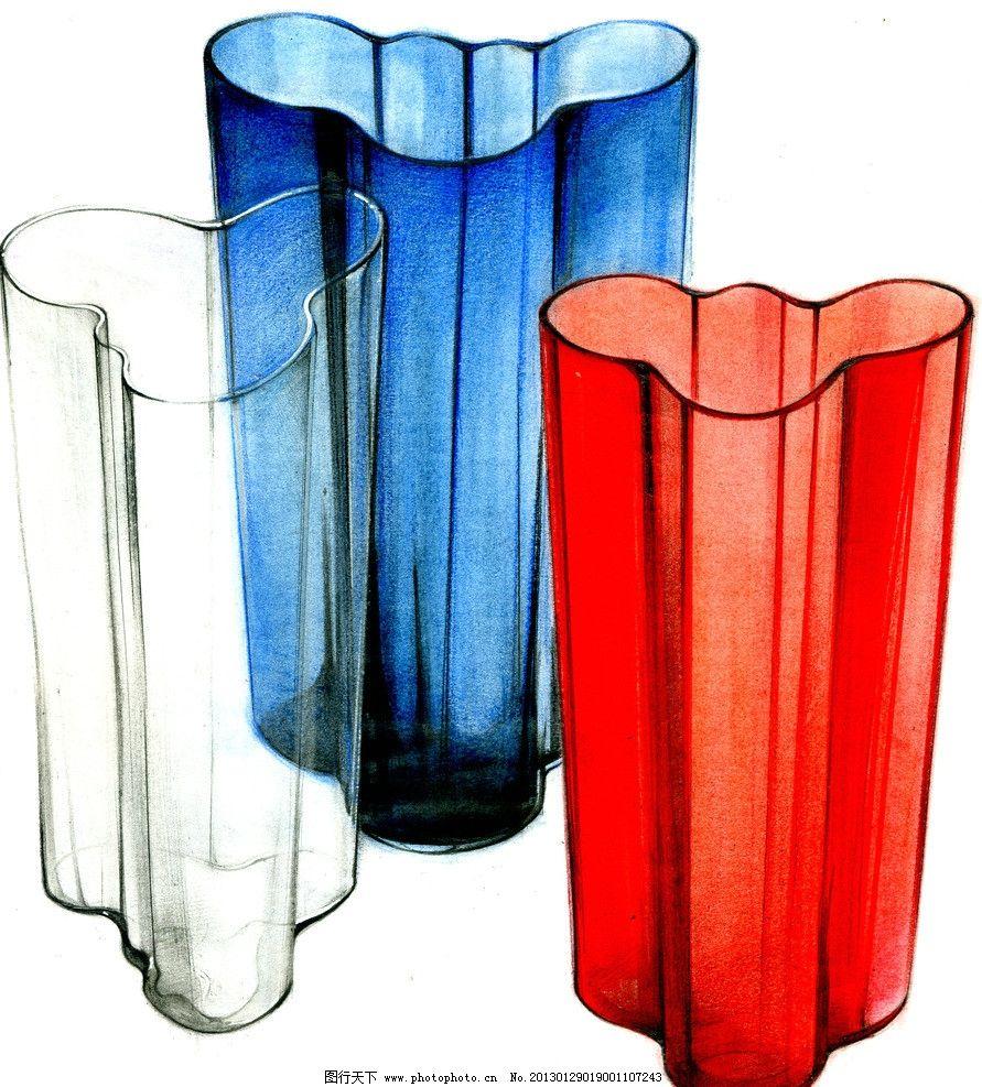 工业设计手绘淡彩草图 器皿 马克笔 色粉 快题 产品 工艺品 玻璃